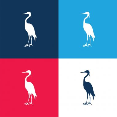 Bird Crane Shape blue and red four color minimal icon set stock vector