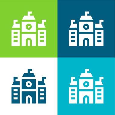 Academy Flat four color minimal icon set stock vector
