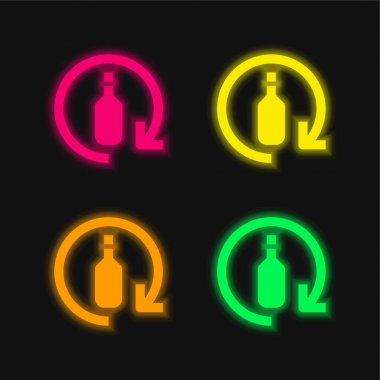 Bottle four color glowing neon vector icon stock vector