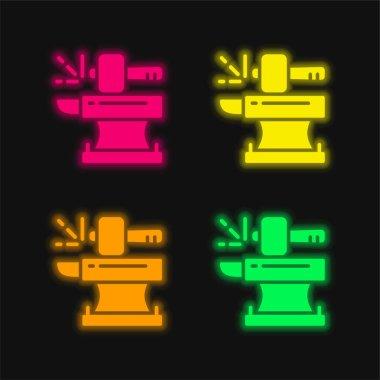 Blacksmith four color glowing neon vector icon stock vector