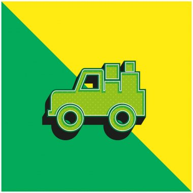 All Terrain Vehicle With Cargo Green and yellow modern 3d vector icon logo stock vector