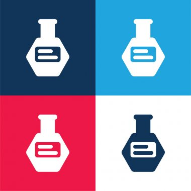 Bottle Of Pills blue and red four color minimal icon set stock vector