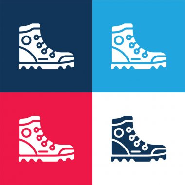 Boot blue and red four color minimal icon set stock vector