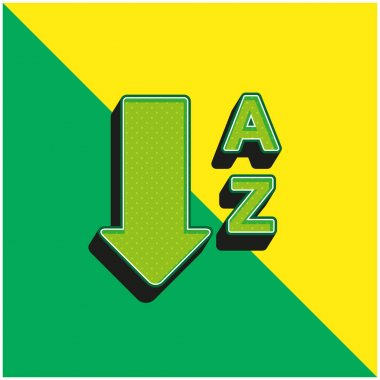 Alphabetical Order From A To Z Green and yellow modern 3d vector icon logo