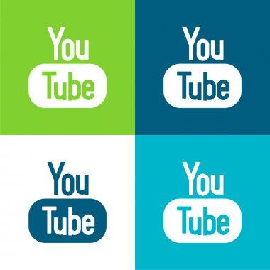 Big YouTube Logo Flat four color minimal icon set stock vector