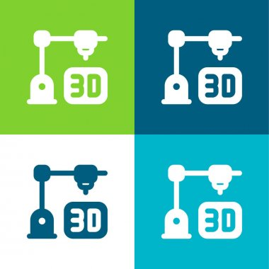 3d Printing Flat four color minimal icon set stock vector