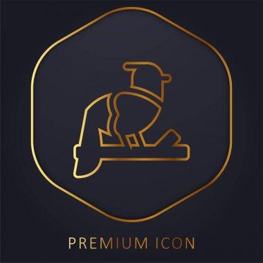 Bird golden line premium logo or icon stock vector