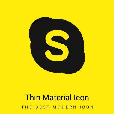 Big Skype Logo minimal bright yellow material icon stock vector
