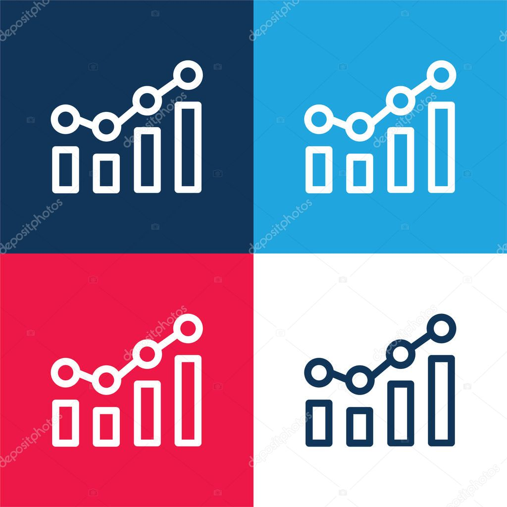 Bar Chart blue and red four color minimal icon set stock vector
