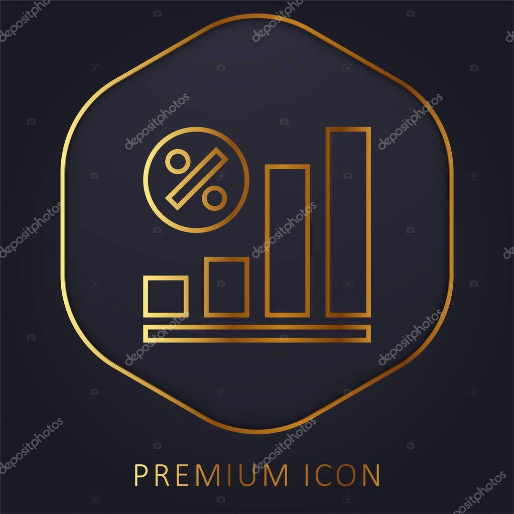 Bar Chart golden line premium logo or icon stock vector