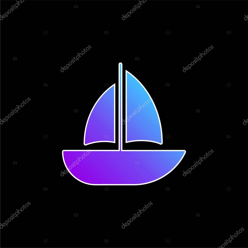 Barca blu gradiente vettoriale icona