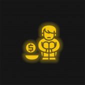 Almosen gelb leuchtendes Neon-Symbol
