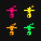 3D tiskárna Varianta čtyři barvy zářící neonový vektor