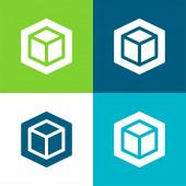 3D byt čtyři barvy minimální ikona nastavena