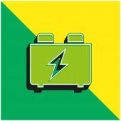 Baterie Zelená a žlutá moderní 3D vektorové logo