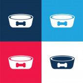 Bowl kék és piros négy szín minimális ikon készlet