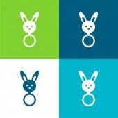 Baby chrastítko s králíčkem hlava tvar byt čtyři barvy minimální ikona sada