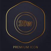 25 Watts Lamp Indicator golden line premium logo or icon