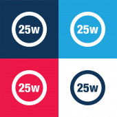 25 Watts Lamp Indicator blue and red four color minimal icon set