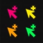 Add Cursor négy szín izzó neon vektor ikon