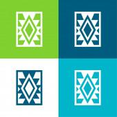 Handwerksteppich von Mexiko Flache Vier-Farben-Minimalsymbolset