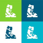 Boot Flat vier Farben minimalen Symbolsatz