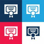 Ocenění modrá a červená čtyři barvy minimální ikona nastavena