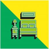 Bed Zöld és sárga modern 3D vektor ikon logó