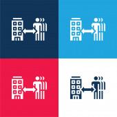 B2b kék és piros négy szín minimális ikon készlet