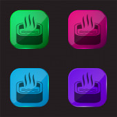 Koupel ponoření čtyři barvy skleněné tlačítko ikona