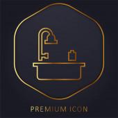 Vana zlatá čára prémie logo nebo ikona