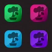 Bonsai-Symbol mit Glasknopf in vier Farben