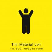 Junge mit erhobenen Armen minimales leuchtend gelbes Materialsymbol