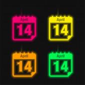 Duben 14 Kalendář Strana Den čtyři barvy zářící neonový vektor ikona