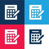 Bingo kék és piros négy szín minimális ikon készlet