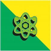 Atom Zöld és sárga modern 3D vektor ikon logó