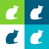 Black Cat Flat Minimal Icon Set mit vier Farben