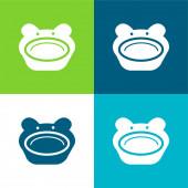 Dítě zvíře tvarované deska ploché čtyři barvy minimální ikona sada