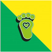 Baby Green és sárga modern 3D vektor ikon logó
