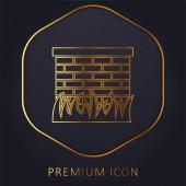 Cihlová zeď s travními listy Ohraničení zlaté linie prémiové logo nebo ikona