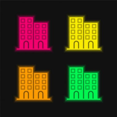 Architectonic four color glowing neon vector icon stock vector