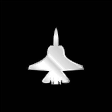 Airplane Bottom Shape silver plated metallic icon
