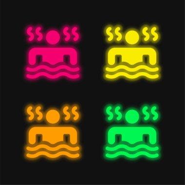 Bath four color glowing neon vector icon stock vector