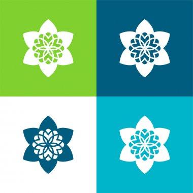 Beautiful Buddhist Flower Flat four color minimal icon set stock vector