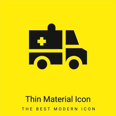 Ambulance minimal bright yellow material icon stock vector