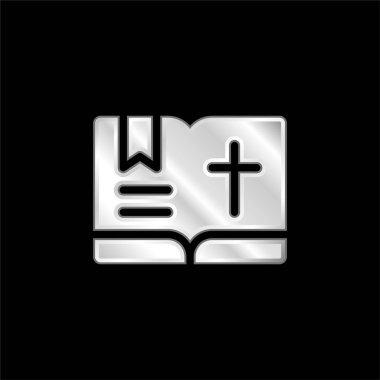Bible silver plated metallic icon stock vector