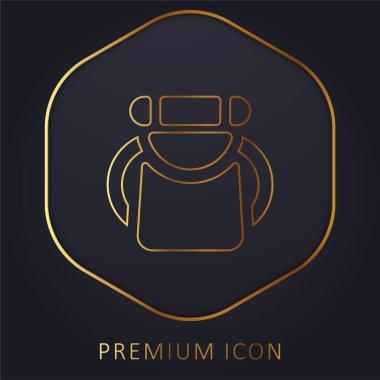 Backpack golden line premium logo or icon stock vector