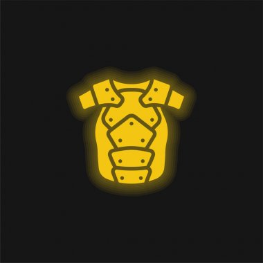 Armor yellow glowing neon icon stock vector