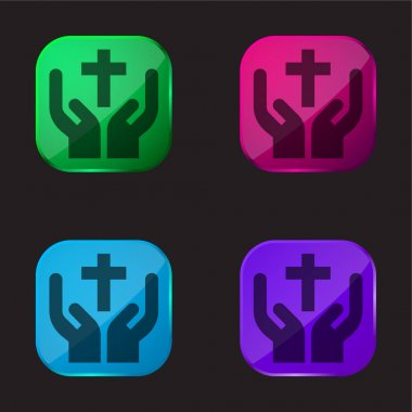 Bless four color glass button icon stock vector