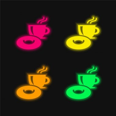 Breakfast Time four color glowing neon vector icon stock vector